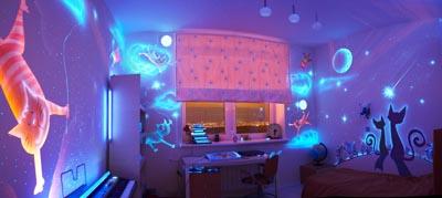 Флуоресцентная свертящаяся краска. Летающие коты. Автор Анна Андронова